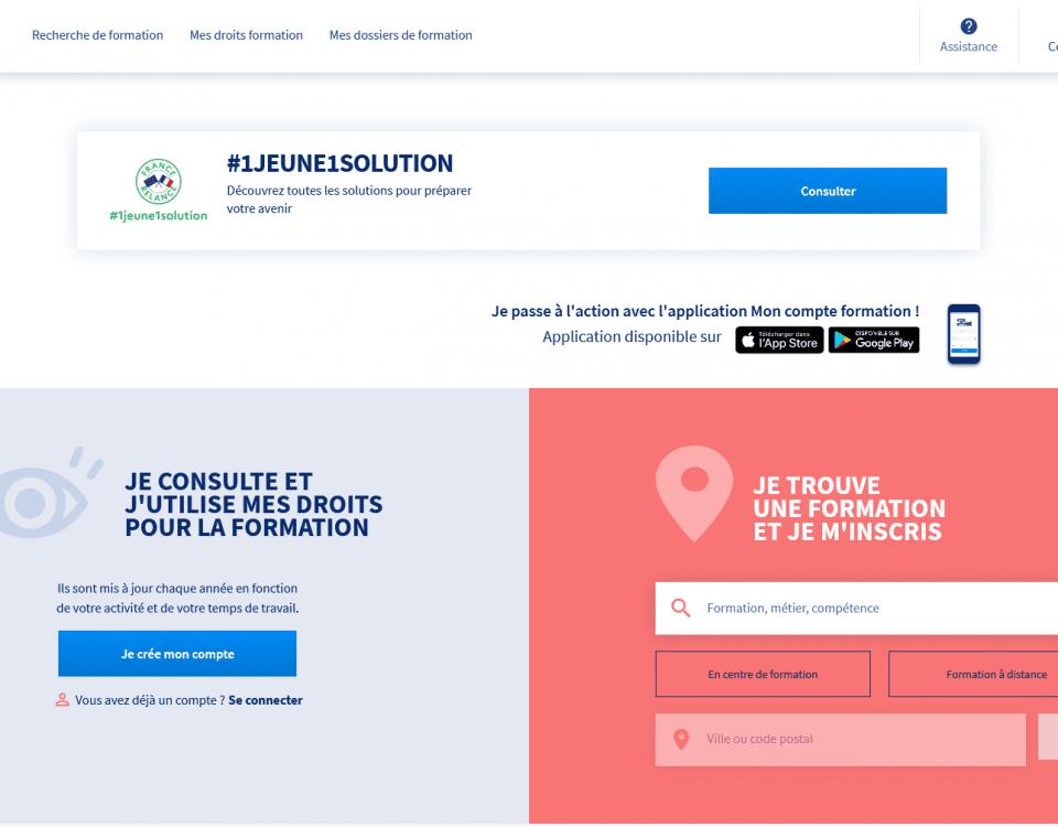 Screenshot moncompteformation.gouv.fr